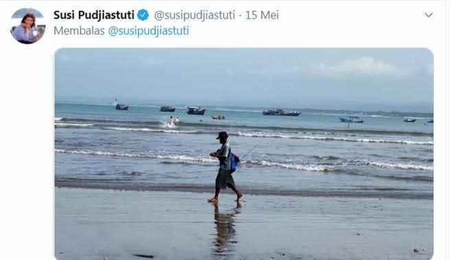 Susi Pudjiastuti mengunggah Pantai Pangandaran yang indah dan bersih (Dok.Twitter/@susipudjiastuti/https://twitter.com/susipudjiastuti/status/1261118821831761921/Komarudin)