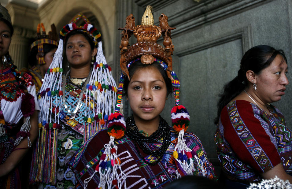 Mayan women gather before an event celebrating International Women's Day in Guatemala City
