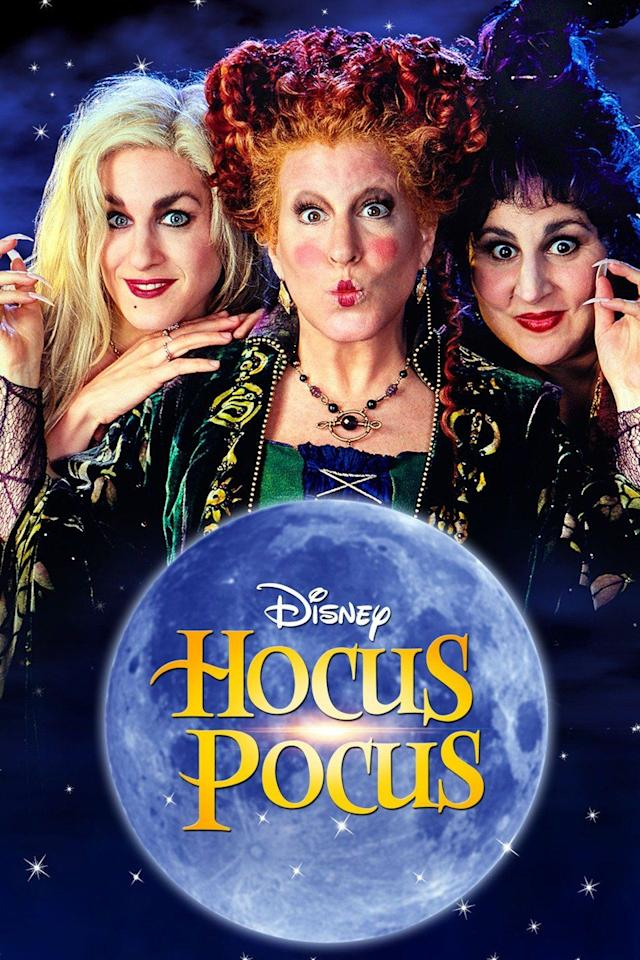 """<p>This 1993 movie about three wacky 300-year-old witches—the Sanderson sisters—is truly a Halloween classic. After three teens accidentally bring the trio back on Halloween, the witches are """"running amuck"""" and literally digging up old friends from the past.  The star-studded cast includes Bette Midler, Sarah Jessica Parker, and Kathy Najimy.</p><p><a class=""""body-btn-link"""" href=""""https://go.redirectingat.com?id=74968X1596630&url=https%3A%2F%2Fwww.disneyplus.com%2Fmovies%2Fhocus-pocus%2F2iCcYcGrx7qD&sref=https%3A%2F%2Fwww.countryliving.com%2Flife%2Fentertainment%2Fg32748070%2Fdisney-plus-halloween-movies%2F"""" target=""""_blank"""">WATCH NOW</a></p>"""