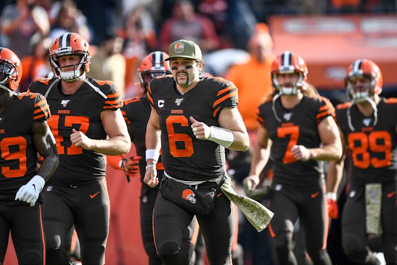 DENVER, CO - NOVEMBER 3: Baker Mayfield #6 of the Cleveland Browns runs onto the field before a game against the Denver Broncos at Empower Field at Mile High on November 3, 2019 in Denver, Colorado. (Photo by Dustin Bradford/Getty Images)