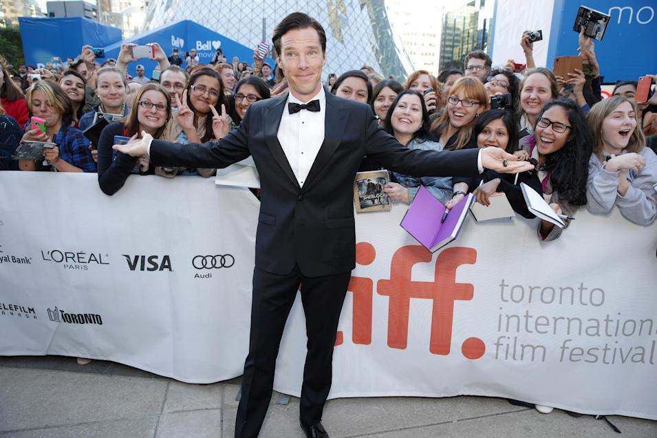 "IMAGE DISTRIBUTED FOR DREAMWORKS PICTURES - Benedict Cumberbatch seen at the Toronto International Film Festival gala presentation of DreamWorks Pictures' ""The Fifth Estate"" a dramatic thriller based on true events, on Thursday, Sep, 5, 2013 in Toronto. (Photo by Eric Charbonneau/Invision for DreamWorks Pictures/AP Images)"