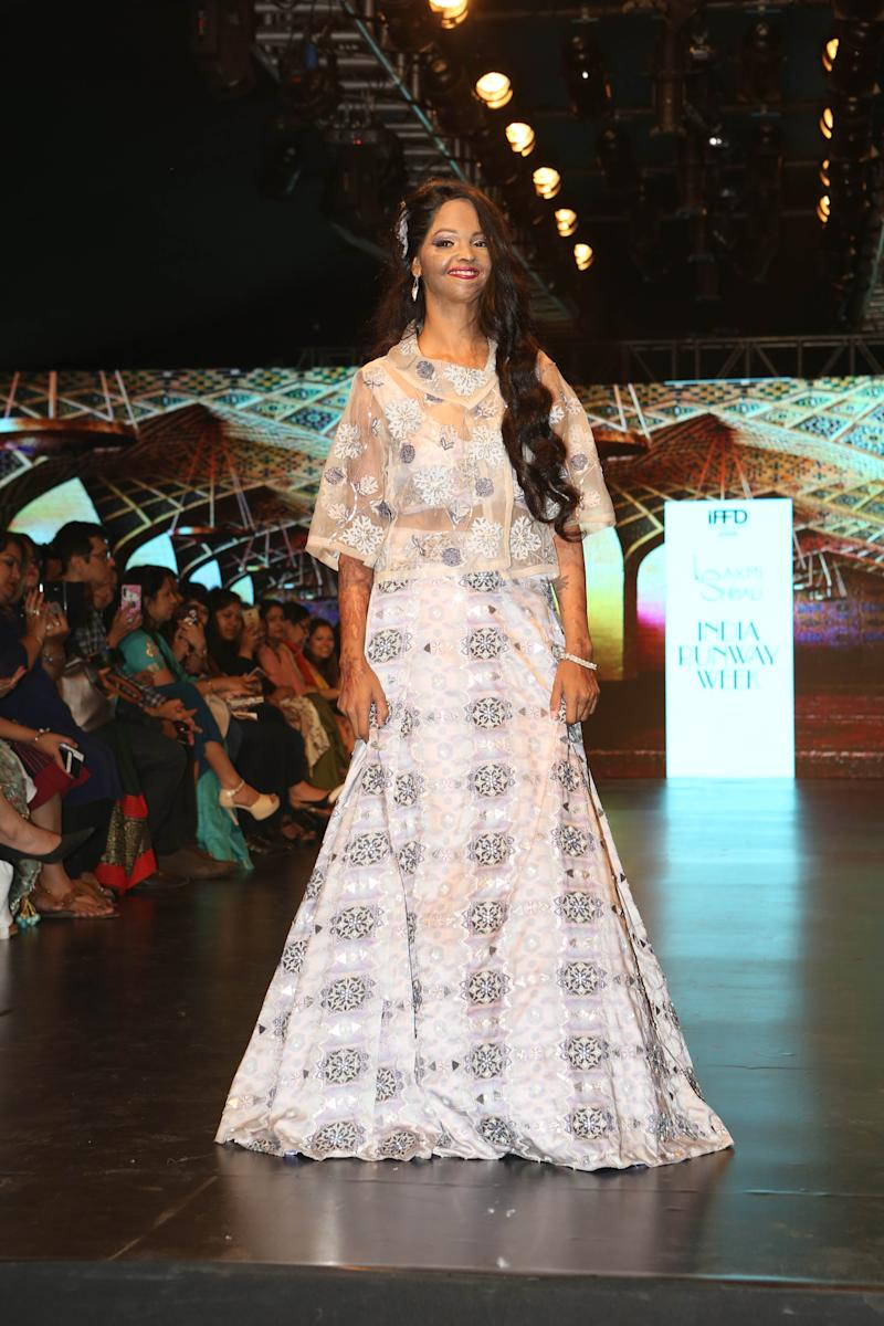 NEW DELHI, INDIA - MARCH 29: Acid attack survivor, Laxmi Agarwal, walks the ramp for label Laxmishrialis chic collection, Revolutionary Goddess, during the 11th season of India Runway Week 2019, hosted by Indian Federation for Fashion Development (IFFD), at the DLF Place, Saket, on March 29, 2019 in New Delhi, India. (Photo by Gokul VS/Hindustan Times via Getty Images)