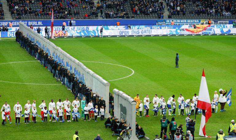 West Berlin Bundesliga team Hertha built a replica Wall across their Olympic Stadium turf