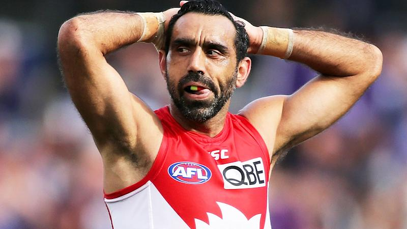Adam Goodes in action for the Swans in 2015 - his final year before retiring. (Photo by Paul Kane/Getty Images)