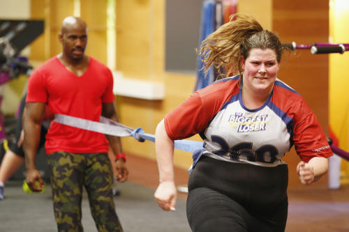 "This image released by NBC shows contestant Rachel Frederickson during the first episode of ""The Biggest Loser."" Fredrickson lost nearly 60 percent of her body weight to win the latest season of ""The Biggest Loser"" and pocket $250,000. A day after her grand unveiling on NBC, she faced a firestorm of criticism in social media from people who said she went too far. (AP Photo/NBC, Trae Patton)"