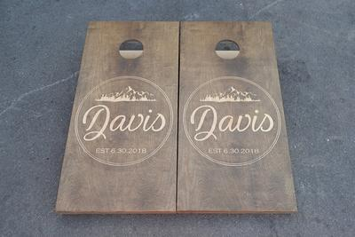 Painted Corn Hole Red and Royal Matching Triangle Cornhole Boards-1956