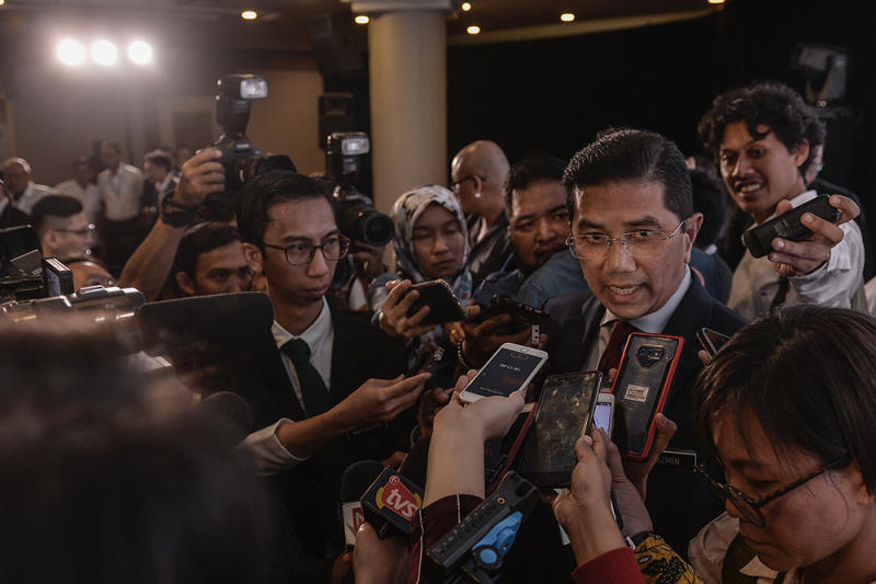 Economic Affairs Minister Datuk Seri Azmin Ali speaks to reporters during the launch of Project Idaman 2019 at SUK Shah Alam June 18, 2019. — Picture by Miera Zulyana