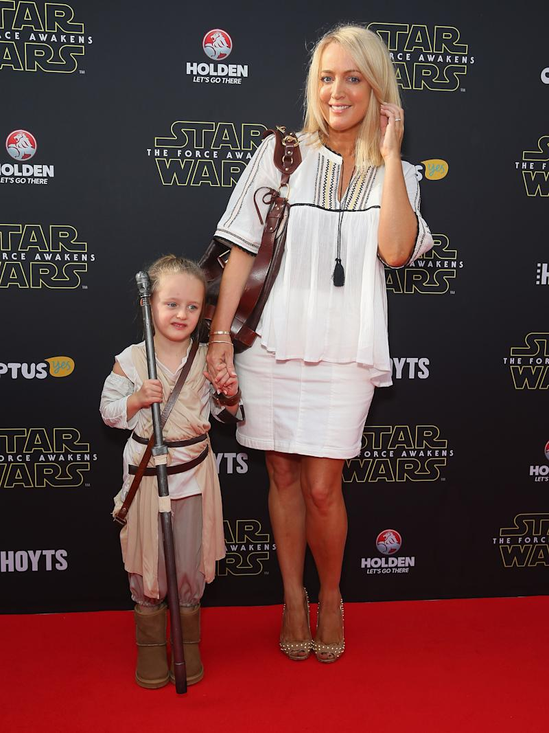 Jackie O and her daughter at 'Star Wars: The Force Awakens' Australian premiere on December 16, 2015 in Sydney, Australia.