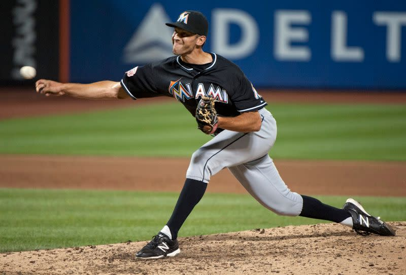 Miami Marlins Steve Cishek pitches to New York Mets in MLB game in New York