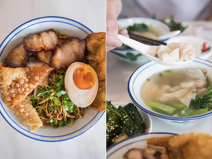 Hokkien style 'wantan mee' is darker due to soy sauce (left). A spoonful of 'wantan' (right).