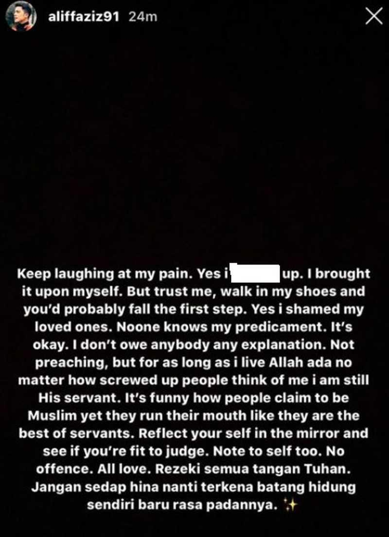 The ex-husband of Bella Astillah took to Instagram yesterday with this message. ― Screengrab via Instagram/Aliff Aziz