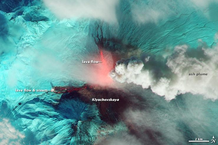 Thar she blows: Satellite captures images of erupting volcano in Russia