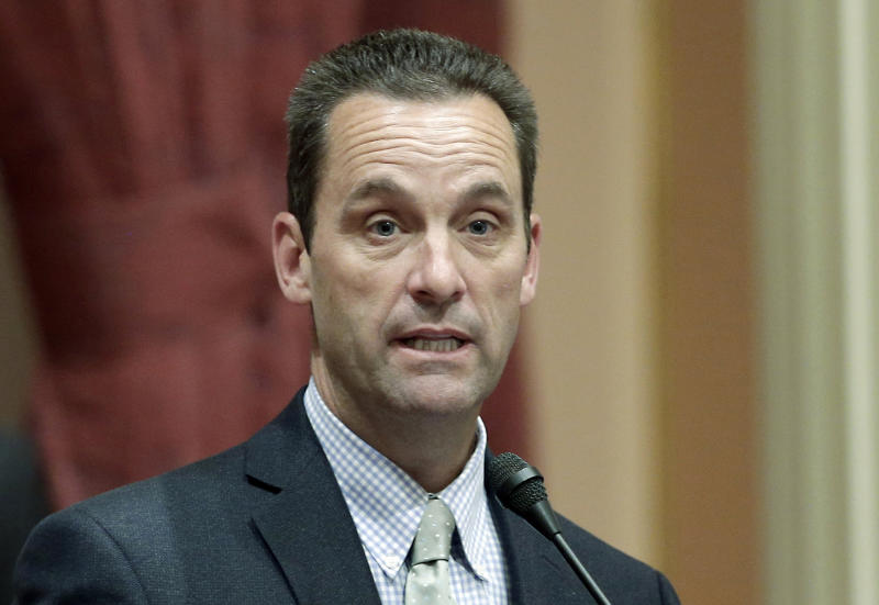 FILE - In this May 28, 2014, file photo, California state Sen. Steve Knight, R-Palmdale, speaks at the Capitol in Sacramento, Calif. Kinght is a candidate for the 25th Congressional District seat in the upcoming California Primary election. (AP Photo/Rich Pedroncelli, File)
