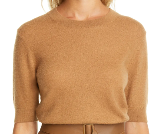 Vince Cashmere Crewneck Sweater in Camel