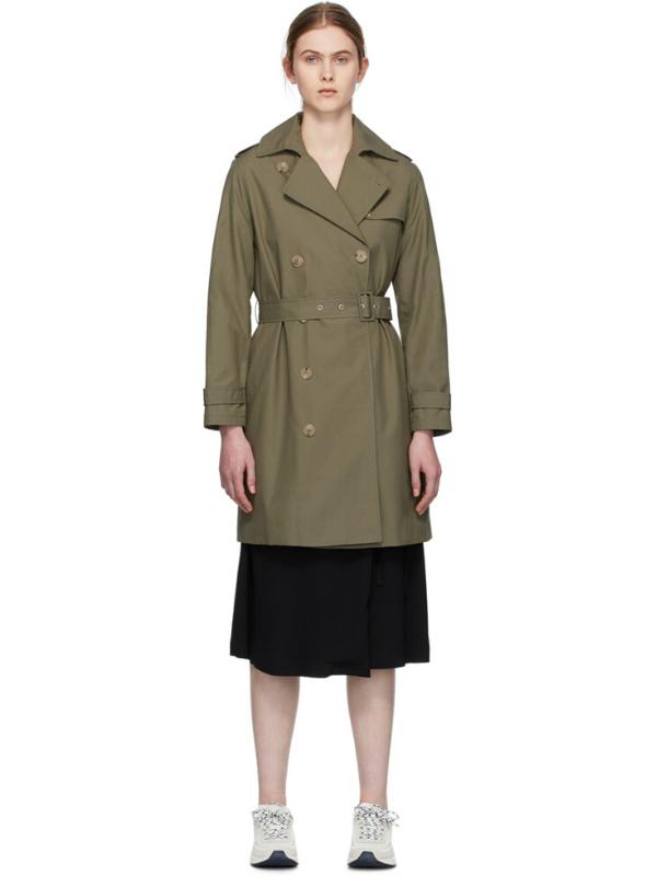 A.P.C. Khaki Josephine Trench Coat. Image via Ssense.