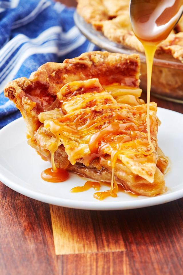 """<p>Downright NSFW. </p><p>Get the recipe from <a href=""""https://www.delish.com/cooking/recipe-ideas/a28580588/caramel-apple-pie-recipe/"""" target=""""_blank"""">Delish</a>.</p>"""