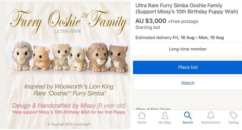 An eBay listing for 'ultra rare' handcrafted Woolworths Lion King furry Ooshies with a $3000 price tag. They are said to have been made by a nine-year-old girl named Missy who wants money for a puppy for her birthday.