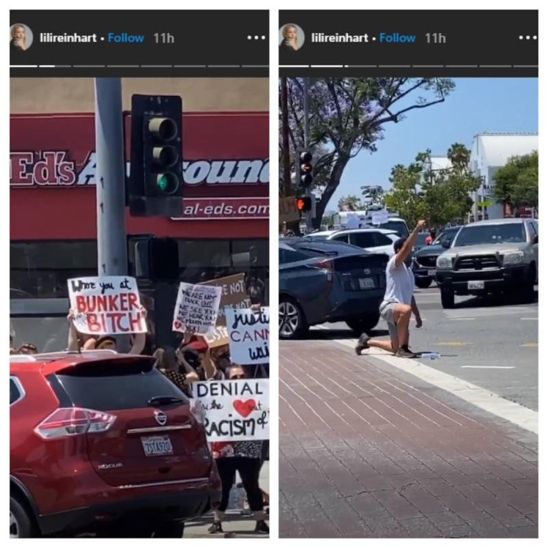 Lili Reinhart documenting protesters waving their placards with words 'Justice cannot win' and 'Black Lives Matter'. — Picture from Instagram/lilireinhart