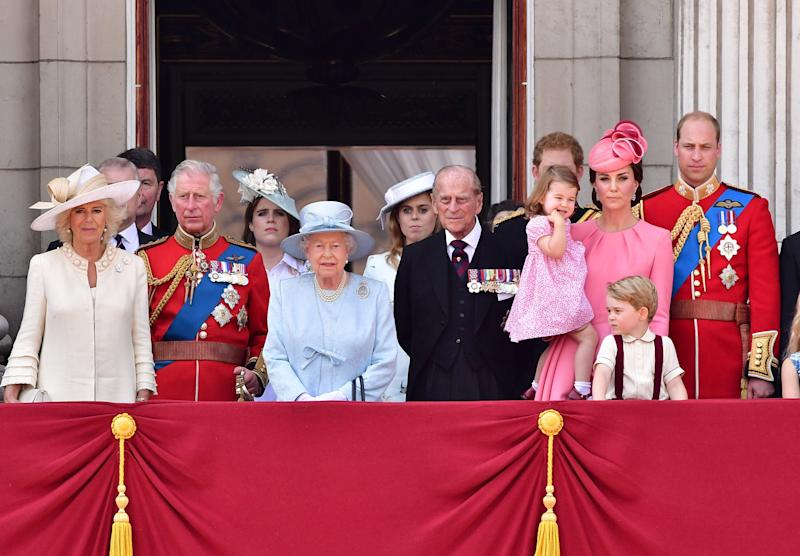 Prince Harry pictured at the back of the balcony for Trooping the Colour 2017