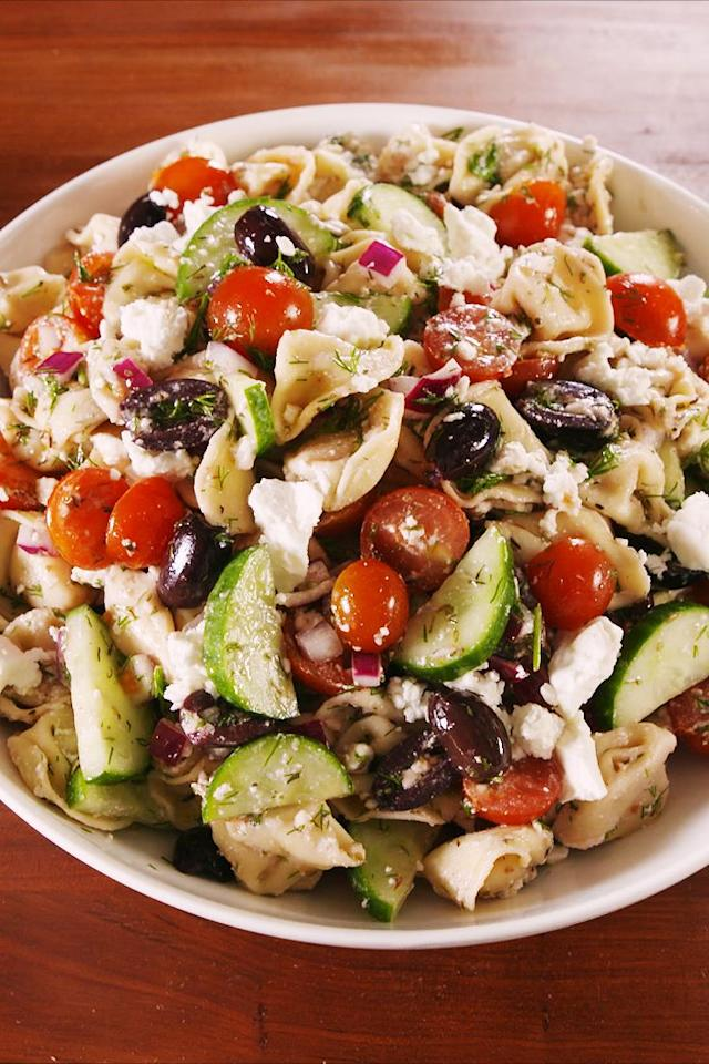 "<p>This salad is SO refreshing.</p><p>Get the recipe from <a href=""https://www.delish.com/cooking/recipe-ideas/recipes/a47991/greek-pasta-salad-recipe/"" target=""_blank"">Delish</a>.</p>"