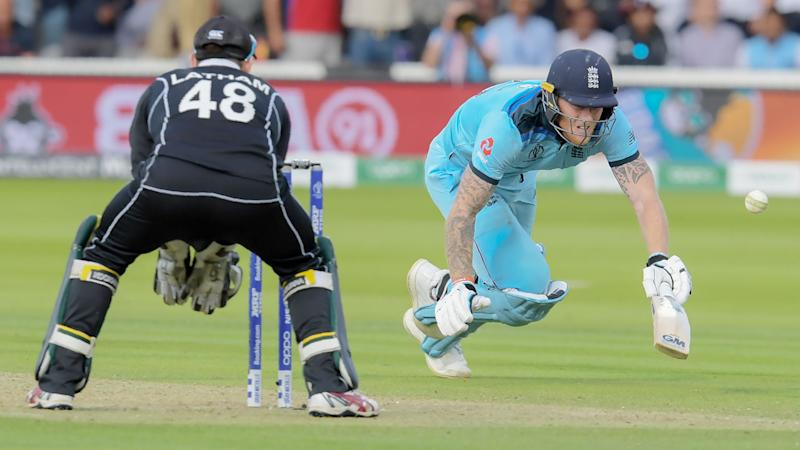 The ball hit Ben Stokes' bat as he dived into his crease in the last over of the Cricket World Cup final. Pic: Getty