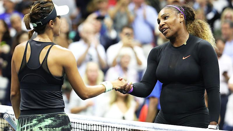 Serena Williams and Qiang Wang, pictured here after their match at the US Open.