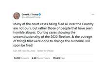 特朗普預告將有重大訴訟證選舉違憲