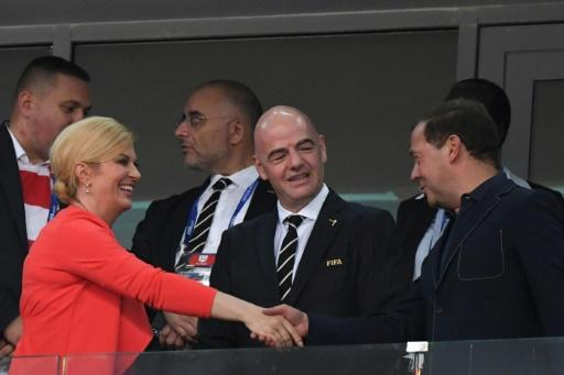 Russian Prime Minister Dmitry Medvedev watched the game with Croatia's President Kolinda Grabar-Kitarovic and FIFA President Gianni Infantino