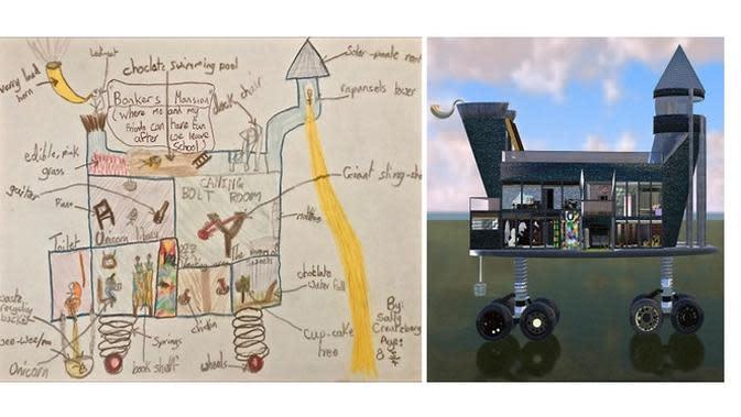 Potret desain rumah yang menakjubkan ini terinspirasi dari gambar sederhana dari anak-anak. (Sumber: Boredpanda)