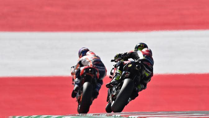 Pembalap Repsol Honda, Marc Marquez, saat mengikuti latihan bebas (FP3) MotoGP Styria di Sirkuit Red Bull Ring, Austria, Sabtu (22/8/2020). Joan Mir finis pertama pada FP3 MotoGP Styria dengan catatan waktu 1 menit 23,456 detik. (AFP/Joe Klamar)