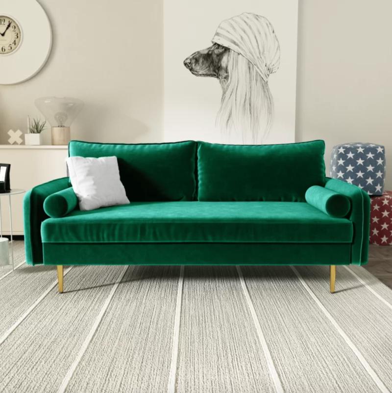 Gumm Round Arm Sofa in Green (Photo via Wayfair)