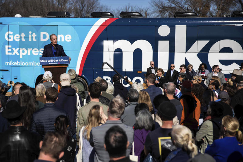 Democratic presidential candidate Michael Bloomberg speaks during his presidential campaign in Austin, Texas, Saturday, Jan. 11, 2020. (Lola Gomez/Austin American-Statesman via AP)