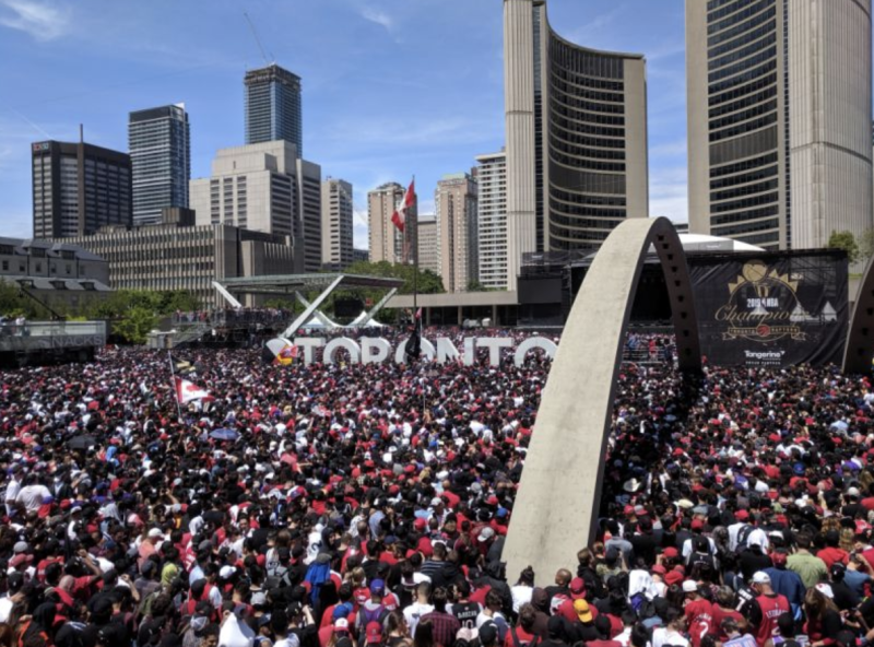 People gathered in Toronto to celebrate the Toronto Raptors' NBA championship victory.