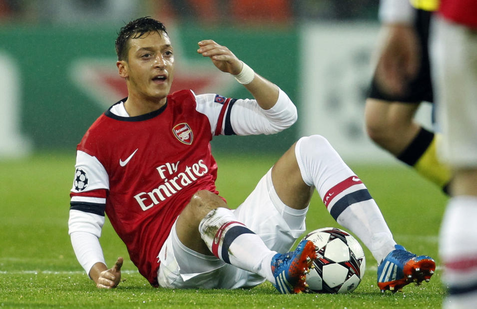 Arsenal's Oezil reacts during Champions League soccer match against Borussia Dortmund in Dortmund