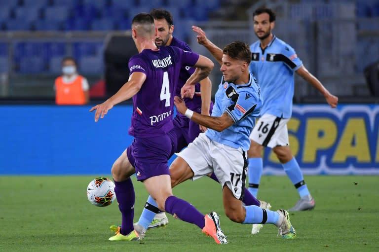 Top scorer: Lazio forward Ciro Immobile (R) has scored 28 Serie A goals this season