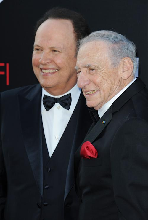 Billy Crystal, at left, and Mel Brooks arrives at the American Film Institute's 41st Lifetime Achievement Gala at the Dolby Theatre on Thursday, June6, 2013 in Los Angeles. (Photo by Katy Winn/Invision/AP)