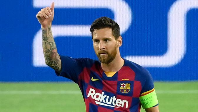3. Lionel Messi (75 gol penalti) - Bintang Barcelona, Lionel Messi, memiliki ketajaman mencetak gol yang tidak diragukan lagi. Untuk urusan penalti, pemain asal Argentina ini telah mengemas 75 gol lewat titik putih.(AFP/Lluis Gene)