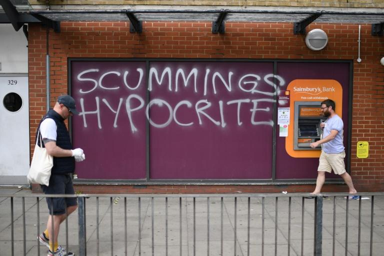There has been widespread outrage at Cummings' alleged lockdown breach, such as the graffiti in north London