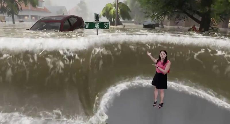 An incredible report by the Weather Channel has illustrated just how dangerous rising water levels could be in the wake of Hurricane Florence lashing the US's east coast. Source: The Weather Channel