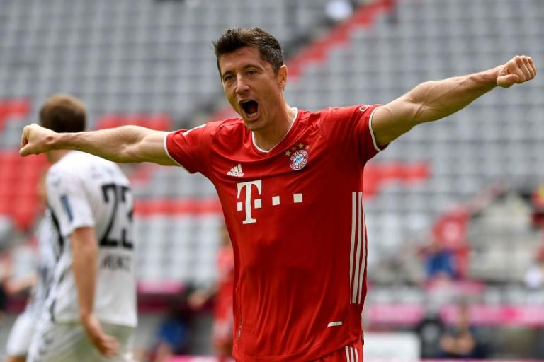 Bayern Munich's Poland striker Robert Lewandowski set a new record on Saturday for the most goals scored by a foreigner in a Bundesliga season