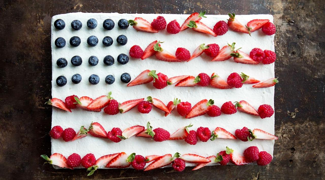 """<p>Old Glory has never looked better.</p><p>Get the recipe from <a href=""""/cooking/recipe-ideas/recipes/a42975/flag-cake/"""" target=""""_blank"""">Delish</a>.</p>"""