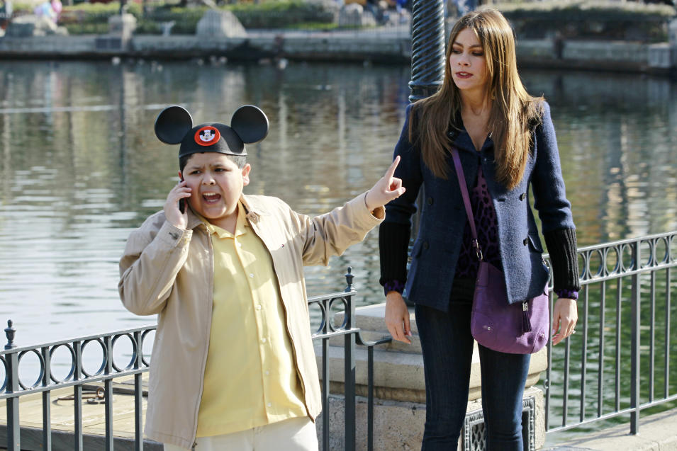 "In this publicity photo released by ABC, Rico Rodriguez, left, and Sofia Vergara are shown in a scene from ""Modern Family."" The program was nominated for an Emmy award for outstanding comedy series on Thursday, July 19, 2012. The 64th annual Primetime Emmy Awards will be presented Sept. 23 at the Nokia Theatre in Los Angeles, hosted by Jimmy Kimmel and airing live on ABC. (AP Photo/ABC, Peter ""Hopper"" Stone)"