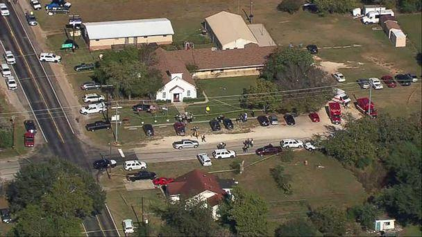 PHOTO: A grab made from aerial video shows first responders on site at First Baptist Church of Sutherland Springs in Sutherland Springs, Texas, Nov. 5, 2017 after reports of a mass shooting. (KSAT)