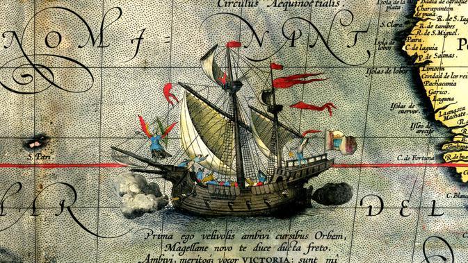 Ekspedisi Ferdinand Magellan pada 20 September 1519 untuk mencari rempah-rempah ke Indonesia (Wikipedia)