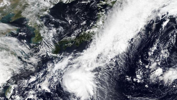 Citra satelit yang dirilis oleh NASA Worldview, Sistem Data dan Informasi Sistem Pengamatan Bumi (EOSDIS) menunjukkan Badai Tropis bergerak ke utara menuju pantai Pasifik Jepang, Selasa (22/9/2020). Badan Meteorologi Jepang melaporkan bahwa badai bisa mencapai Jepang akhir pekan ini. (NASA via AP)