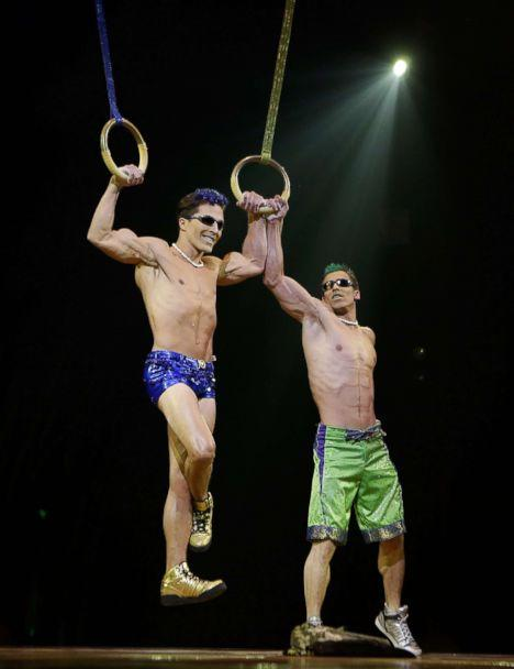 PHOTO: Yann Arnaud and GoelOuisse perform at the 'Cirque Du Soleil's Totem' dress rehearsal at Citi Field, March 13, 2013 in New York City. (John Lamparski/Getty Images, FILE)