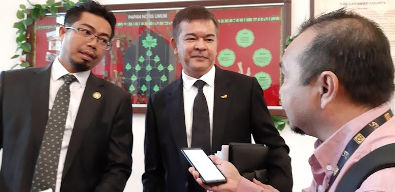 State Attorney General Datuk Talaat Mahmood Abdul Rashid (right) with his deputy, Safri Ali, talking to reporters in Kuching January 14, 2020. — Picture by Sulok Tawie
