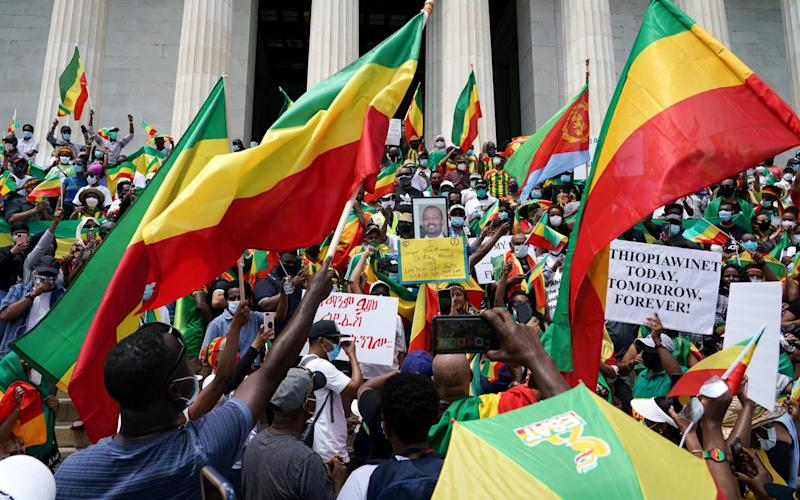 Activists gather in Washington last month to support Ethiopian Prime Minister Abiy Ahmed - J. Countess/Getty Images