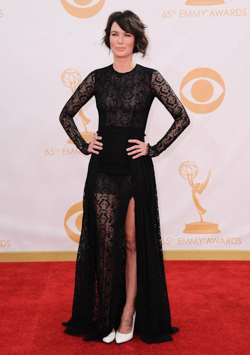 Lena Headey arrives at the 65th Primetime Emmy Awards at Nokia Theatre on Sunday Sept. 22, 2013, in Los Angeles. (Photo by Jordan Strauss/Invision/AP)