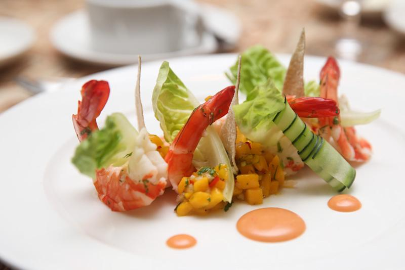 Light and fresh flavours take centre stage in the poached river prawn appetiser. — Picture by Choo Choy May
